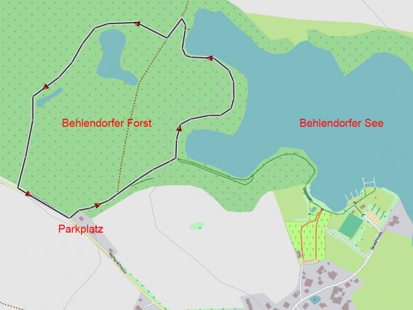 Karte vom Spaziergang durch den Behlendorfer Forst