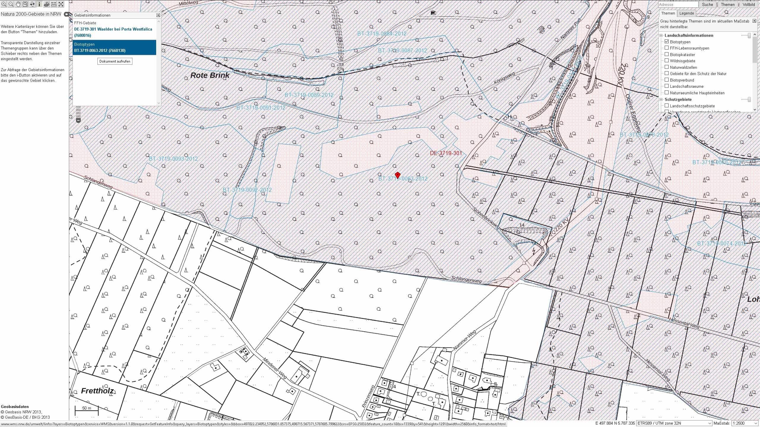 Biotoptypen im FFH-Gebiet Wälder bei Porta Westfalica
