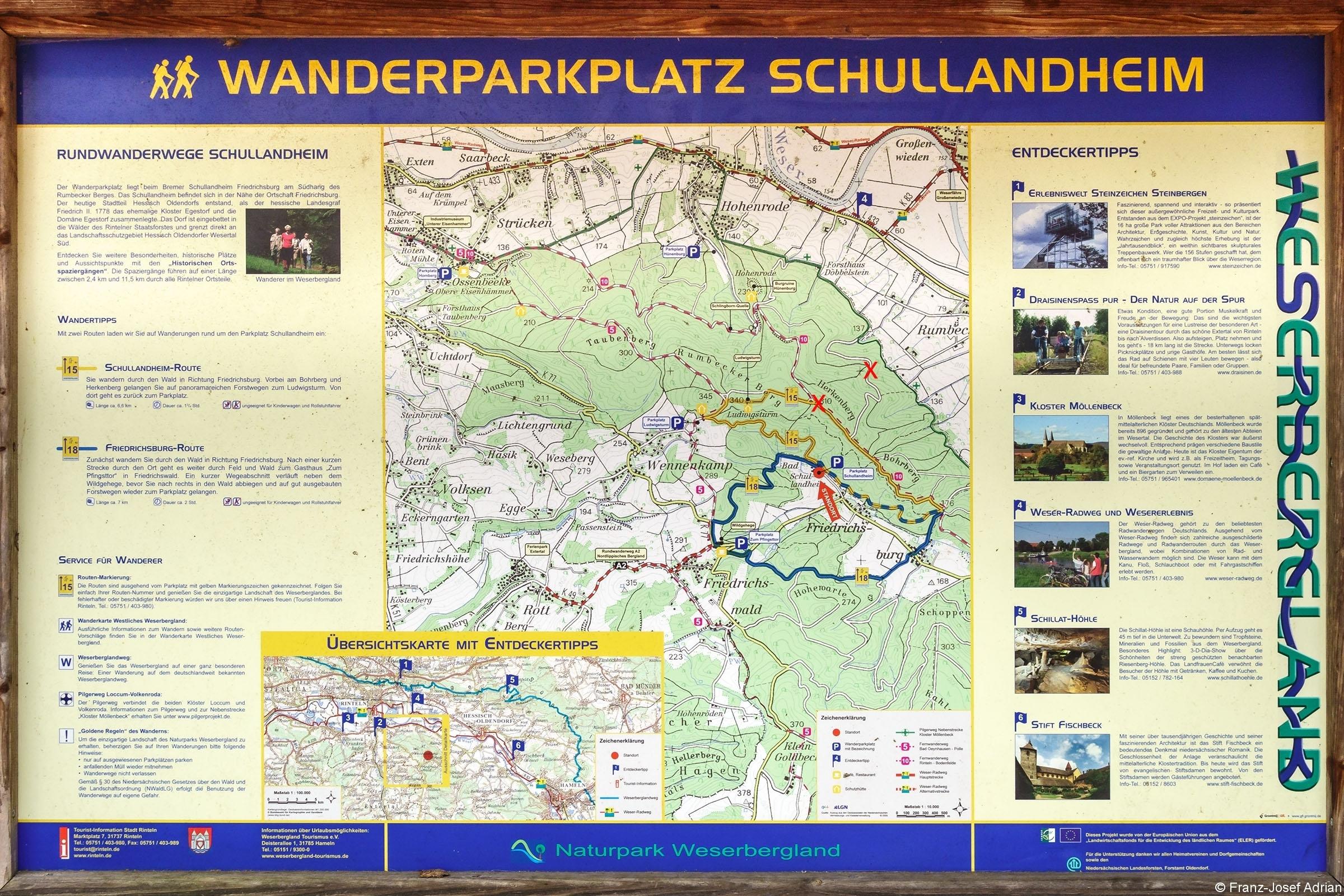 Informationsschild auf dem Wanderparkplatz des ehemaligen Schullandheims in Friedrichsburg (Hessisch Oldendorf)