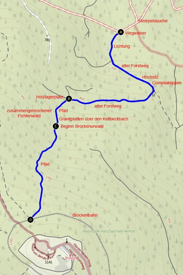 Karte des Schneelochwegs