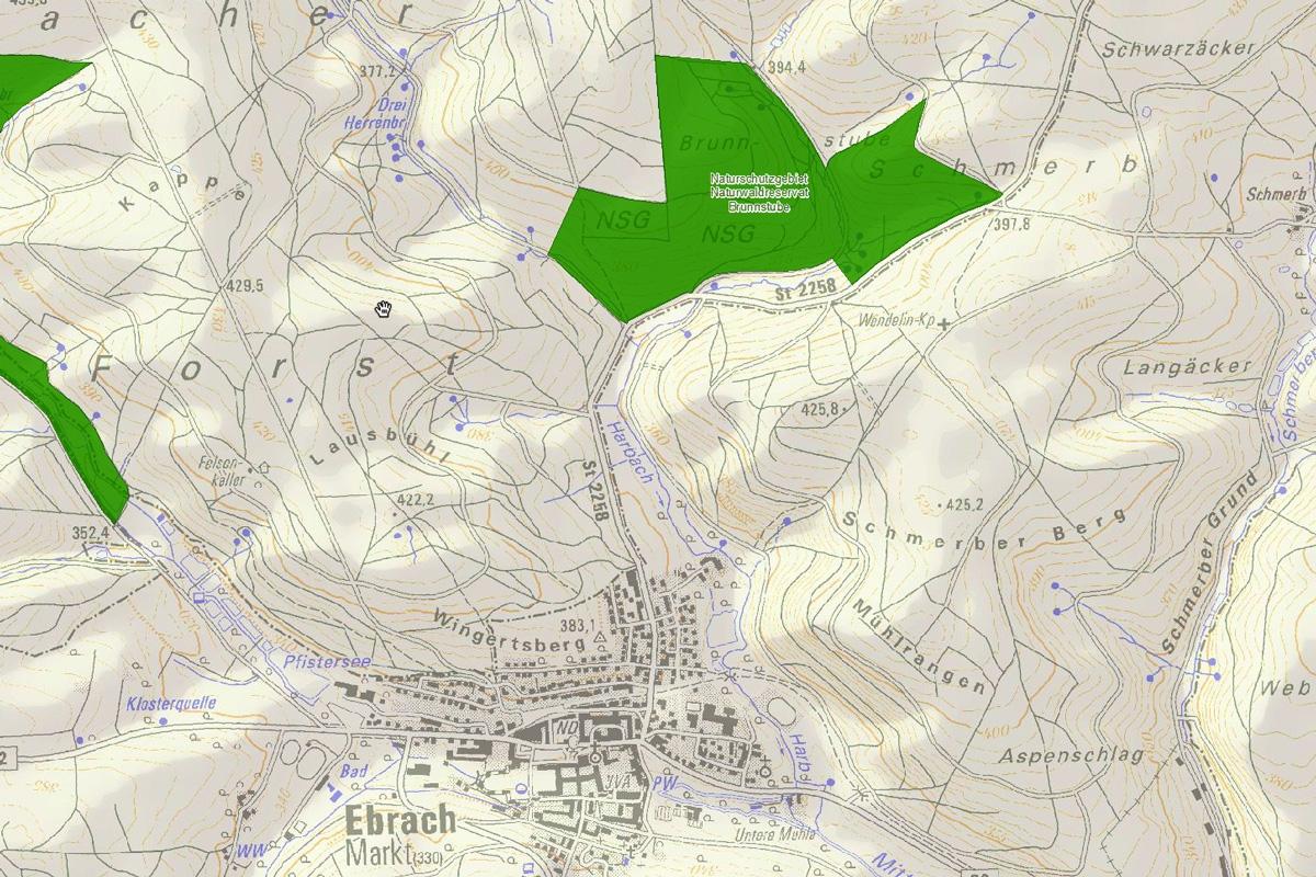 Karte des Naturschutzgebiets Brunnstube