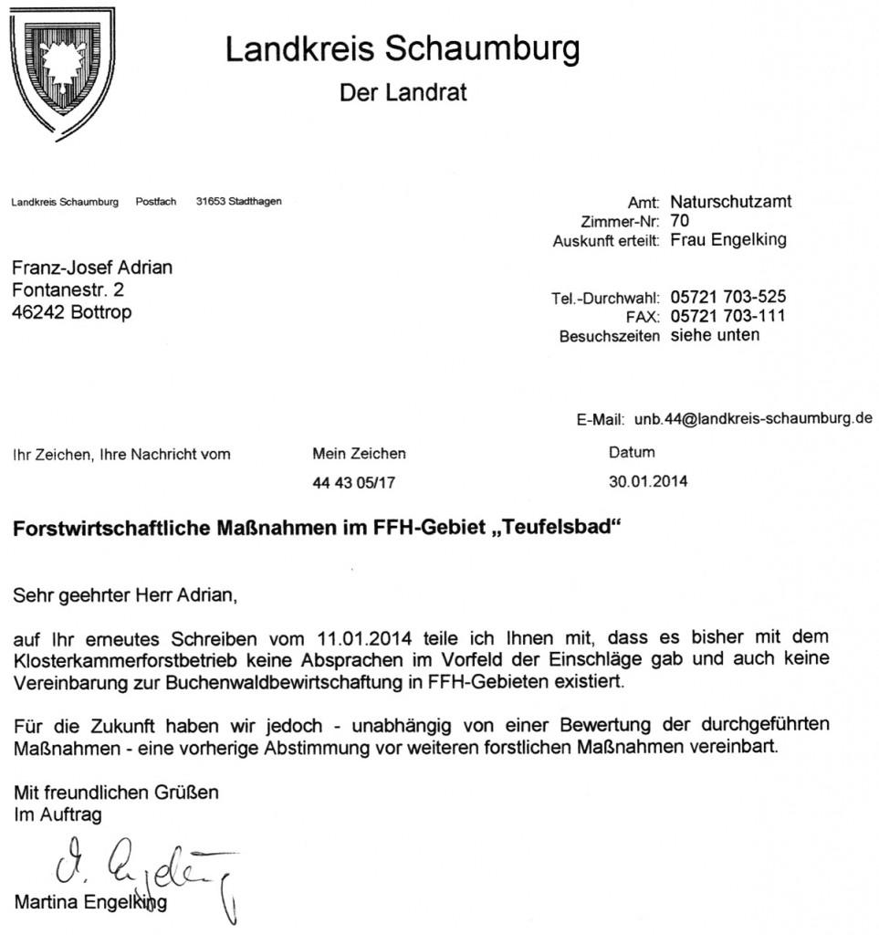 Antwort von Frau Engelking vom 30.1.2014