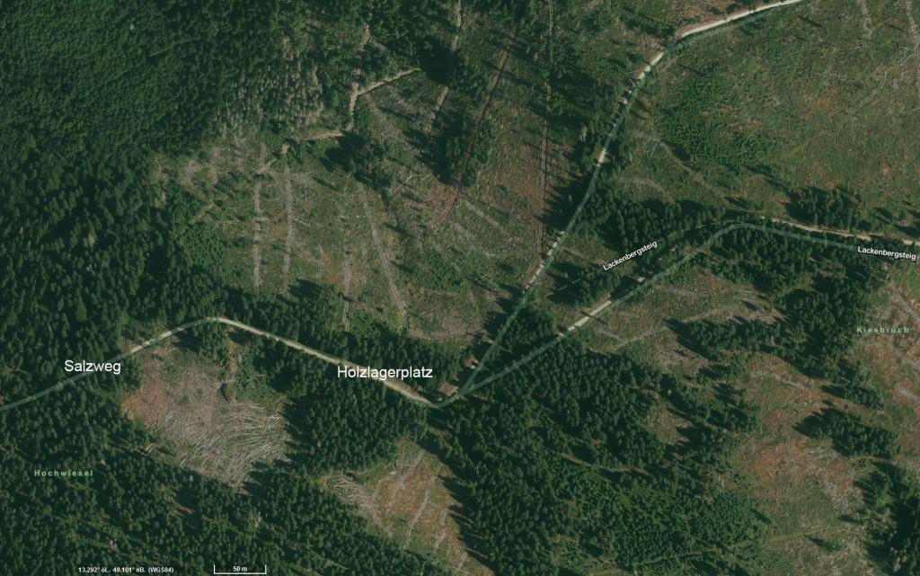 Satellitenbild Holzlagerplatz